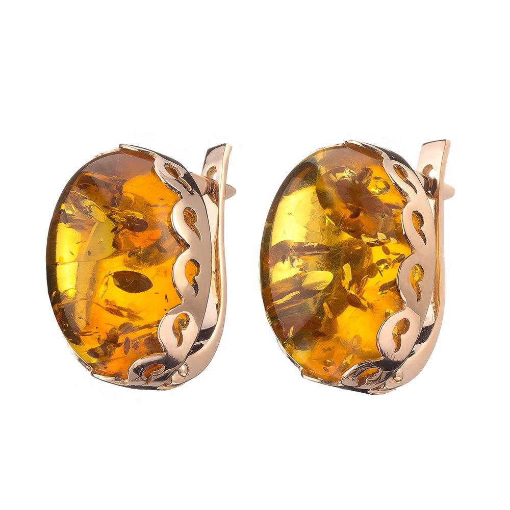 """Купить крупные золотые серьги с искрящимся медовым янтарем """"волна"""""""